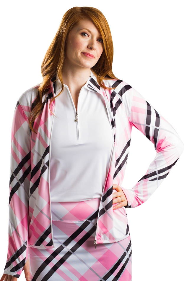 900506 SolStyle Cool Full Full Zip Front Mock. Highlands Pink